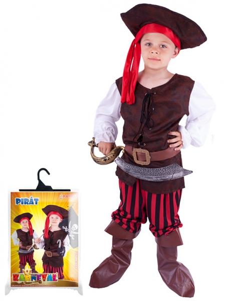 Karnevalový kostým pirát, klobouk, boty, vel. XS - Kostým pirát, klobouk, boty, vel. XS