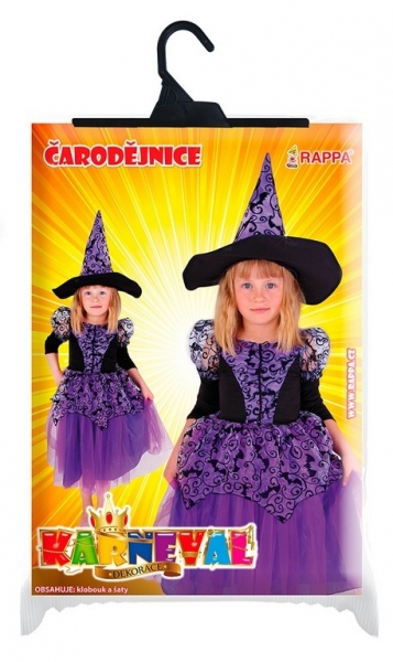 Dětský kostým čarodějnice fialová čarodějnice/Halloween (M)