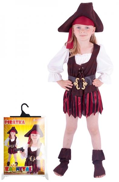 Karnevalový kostým pirátka, klobouk, boty, vel. XS - Kostým pirátka, klobouk, boty, vel. XS