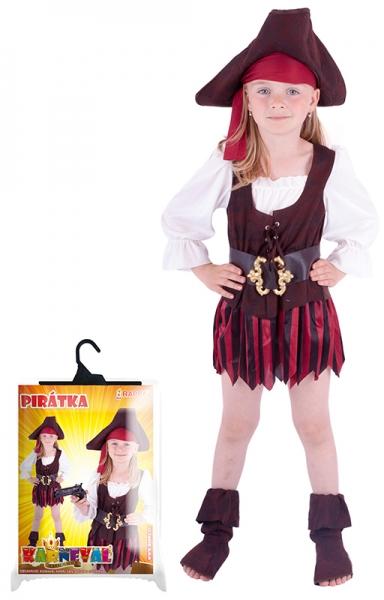 Karnevalový kostým pirátka, klobouk, boty, vel. S - Kostým pirátka, klobouk, boty, vel. S