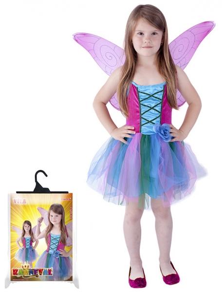Karnevalový kostým víla s křídly, modrá, vel. M - Kostým víla s křídly, modrá, vel. M