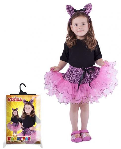 Karnevalový kostým kočka, sada - sukně + čelenka