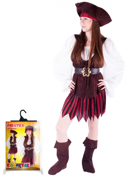 Karnevalový kostým pirátka, boty, dospělý, vel. M - Kostým pirátka, boty, dospělý, vel. M
