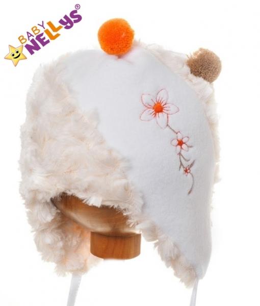 Baby Nellys Zimní čepička Kytička s kožíškem - krémová s bílou a bambulkami