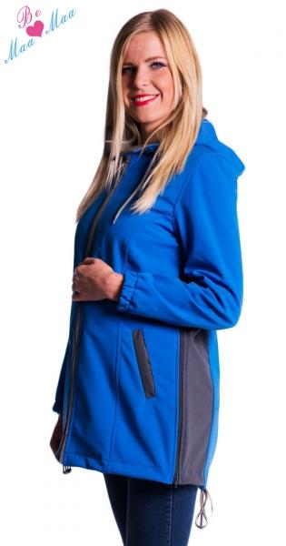Těhotenská softshellová bunda,kabátek - modrá - vel. L, barva: modrá