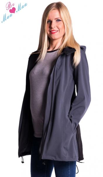 Be MaaMaa Těhotenská softshellová bunda,kabátek - šedá/grafit