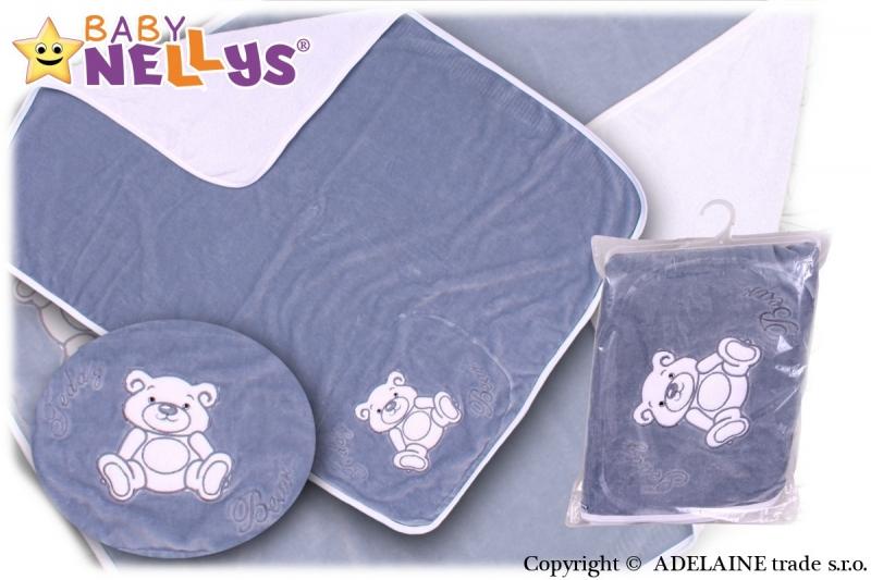Baby Nellys  Deka/dečka froté/velur - Medvídek Teddy Bear- šedá