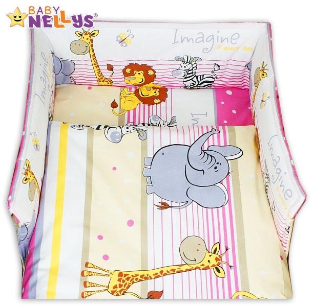 Mantinel s povlečením Baby Nellys ® - Safari v růžové