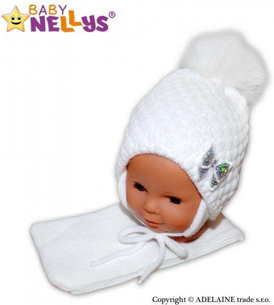 Zimní čepice/čepička Mašlička - bílá
