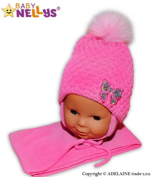 Zimní čepice/čepička Mašlička - pastelově růžová