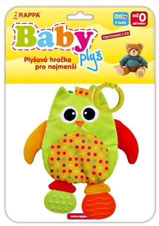 Kniha plyšová baby sova s kousátky a klipem