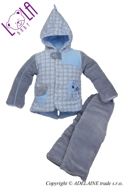 Oteplený komplet - bundička a kalhoty DOGI - Vel. 86, barva: šedá/modrá