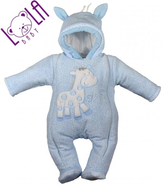 Oteplený overálek/kombinéza Žirafka sv. modrá - Vel. 62, barva: sv. modrá