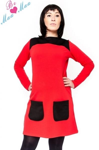 Těhotenské šaty/tunika LIZZA dl. rukáv - černá/červená, Velikost: L/XL