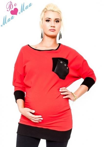 Be MaaMaa Těhotenská mikina MIA - červená, Velikost: L/XL