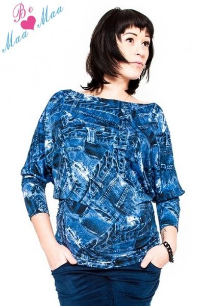 Těhotenské stylové triko, halenka s JEANS vzorem