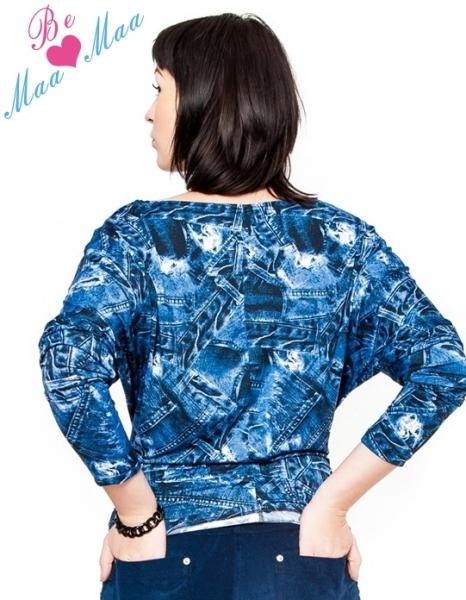 Be MaaMaa Těhotenské stylové triko, halenka s JEANS vzorem