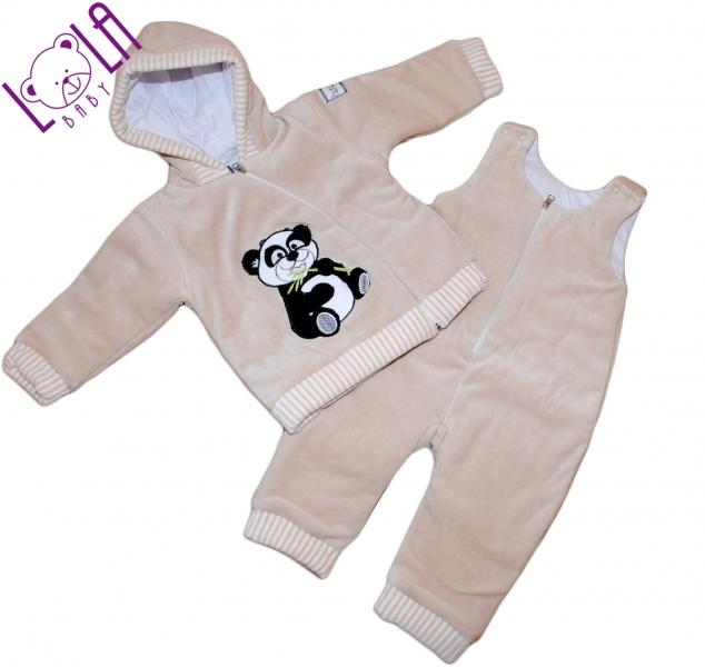 Oteplený komplet - bundička a lacláče Panda béžová - Vel. 74, barva: béžová