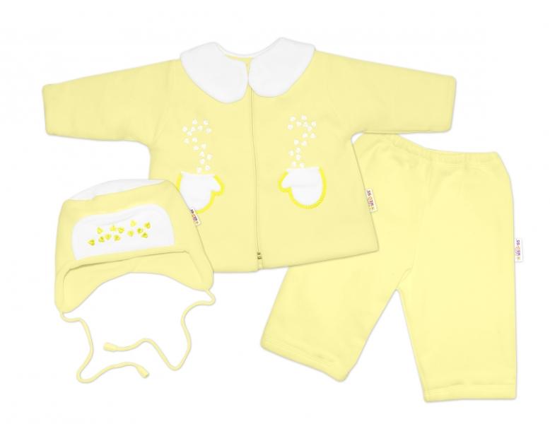 Kabátek, čepička a kalhoty Baby Nellys ® - krémově žlutá