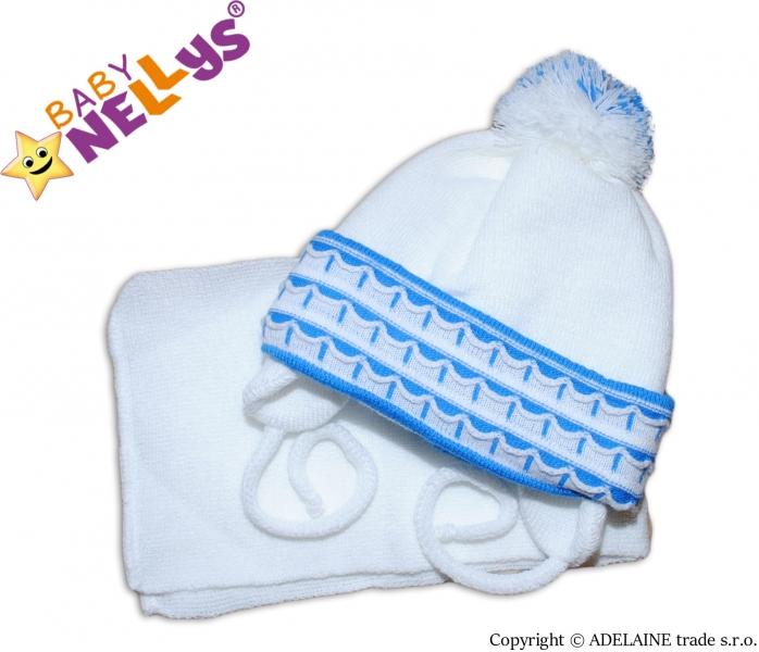 Zimní čepička s šálou - s imitací volánku - modrá