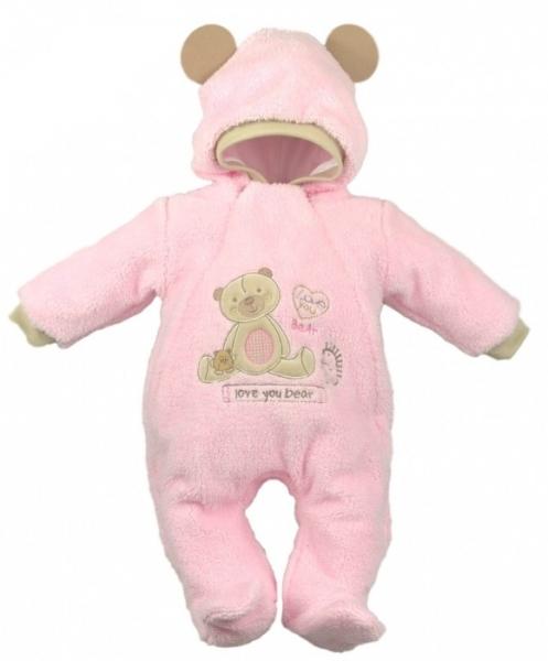 Baby Nellys Chlupáčkový overálek/kombinézka, vel. 68, SWEET BEAR - růžový