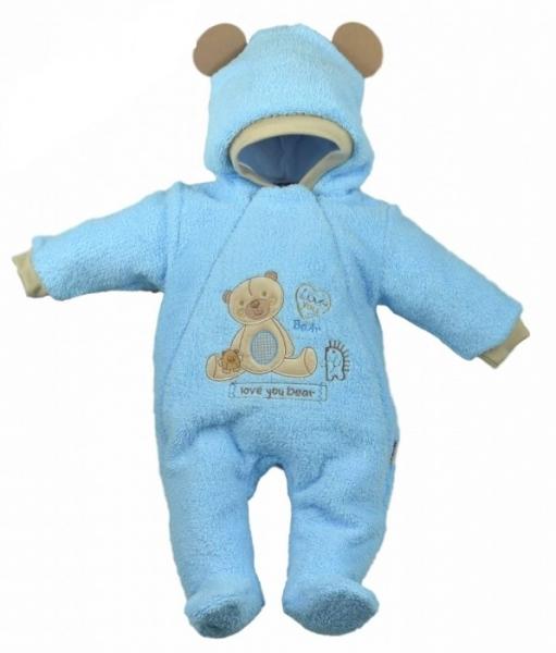 Baby Nellys Chlupáčkový overálek/kombinézka, vel. 68, SWEET BEAR - sv. modrý