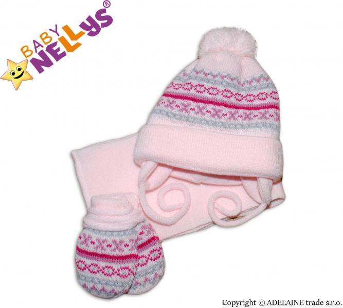 Sada - čepička, šál a rukavičky - vzorovaná růžová