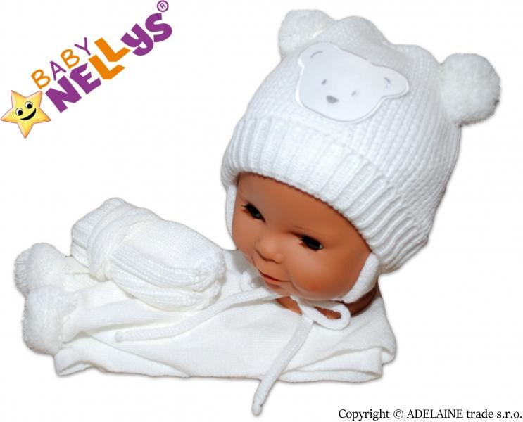 Sada - čepička, šál a rukavičky - Medvídek s bambulkami