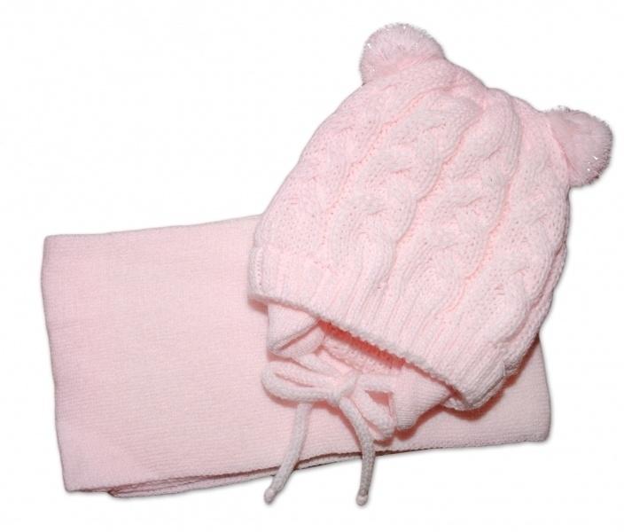 BABY NELLYS Zimní pletená čepička s šálou TEDDY - sv. růžová, vel. 2-8m, Velikost: 62/74