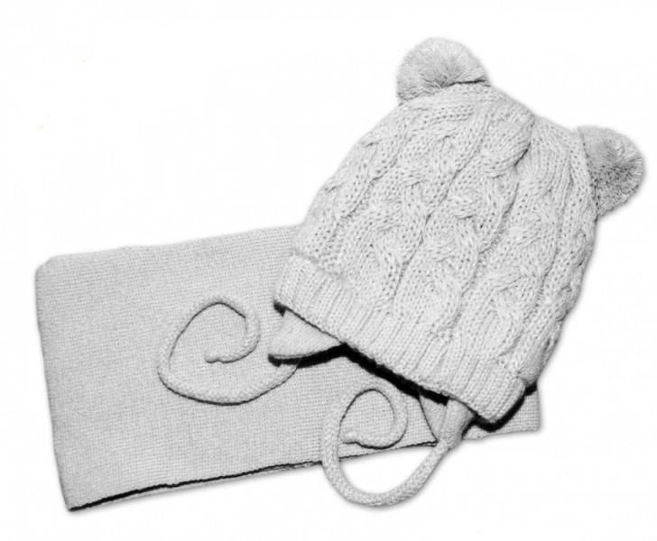 BABY NELLYS Zimní pletená čepička s šálou TEDDY - šedá s bambulkami, vel. 2-8m, Velikost: 62/74
