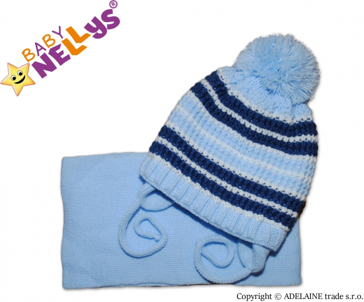 Zimní pletená čepička se šálou - pruhovaná modrá