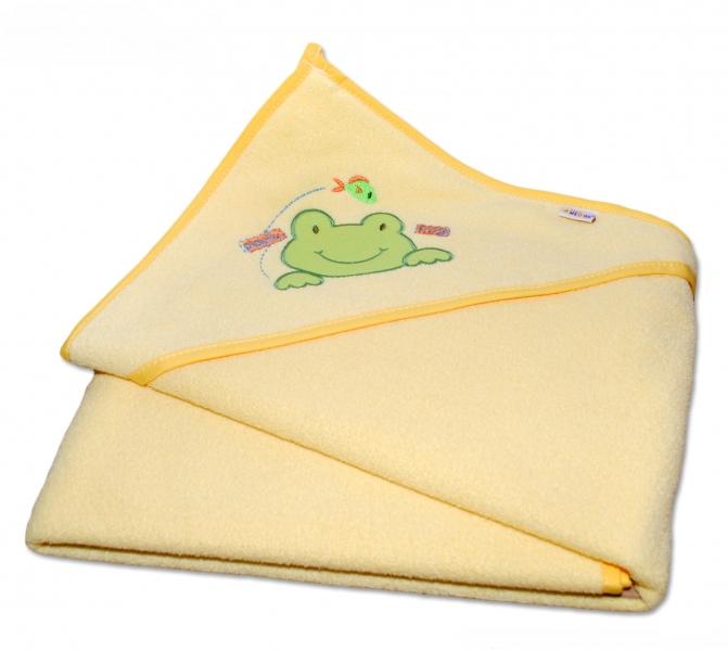 Termoosuška s kapucí Žabka Baby Nellys - krémově žlutá
