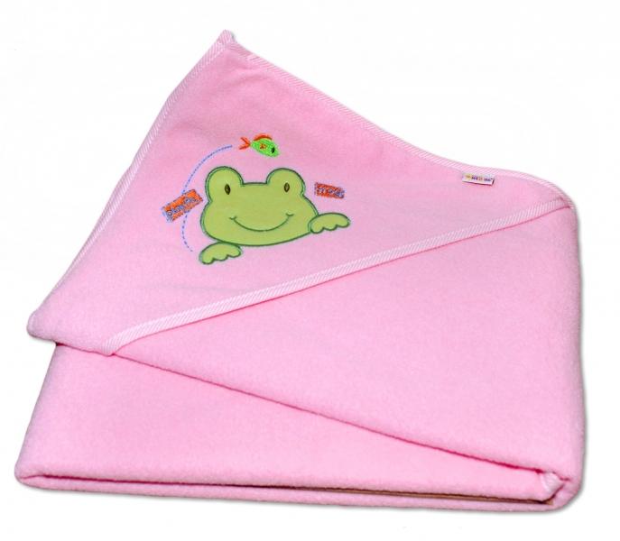 Termoosuška s kapucí Žabka Baby Nellys - růžová