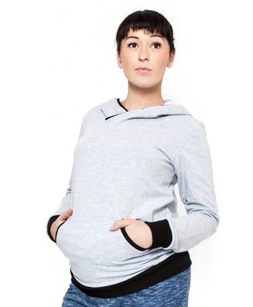 Těhotenská mikina s kapucí Vera - sv. šedý melírek (barva: sv. šedý melírek, vel. L/XL)