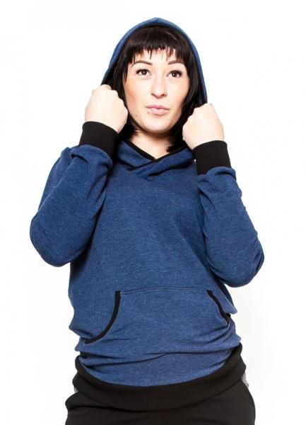 Be MaaMaa Těhotenská mikina s kapucí Vera - jeans