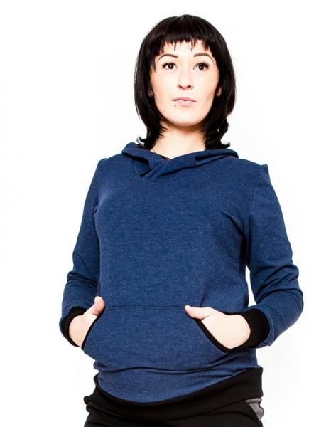 Těhotenská mikina s kapucí Vera - jeans (barva: jeans, vel. L/XL)