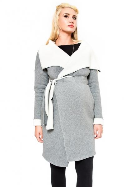 Těhotenský kabátek Be MaaMaa - ELSA - barva: šedý melírek, vel. S/M
