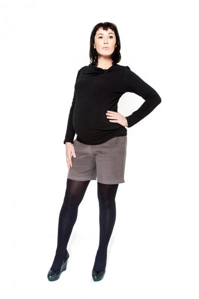 Těhotenské manšestrové kraťásky Be MaaMaa - DINA šedá, Velikost: M