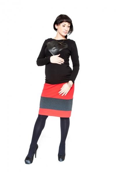 Těhotenská sukně Be MaaMaa - LORA červená/grafit