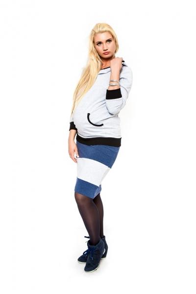 Těhotenská sukně Be MaaMaa - LORA jeans/sv. šedé