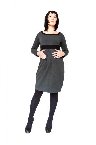 Těhotenské šaty tunika ORA - grafit empty ef614e6114b