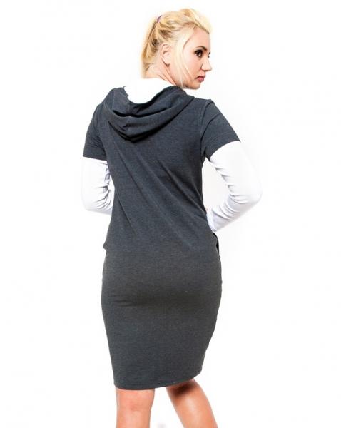 Be MaaMaa Těhotenské šaty/tunika s kapucí RIA - grafit