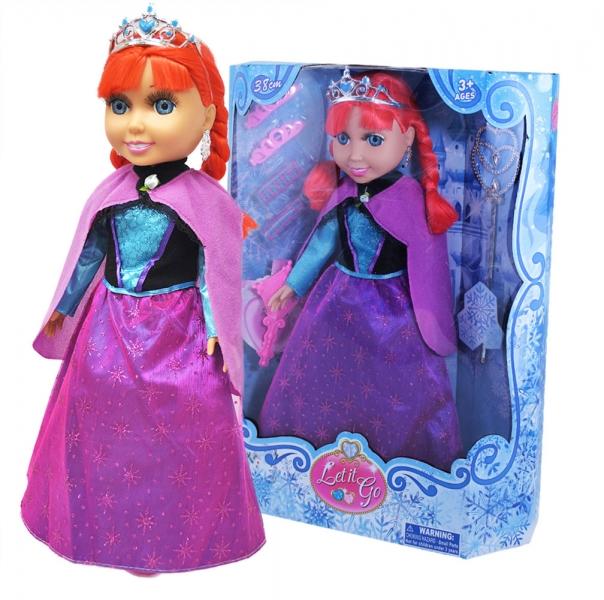 Panenka zimní království princezna zrzka s příslušenstvím, 38 cm