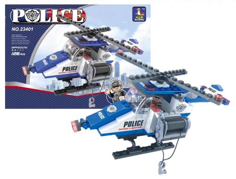 Stavebnice AUSINI policejní vrtulník 126 dílů