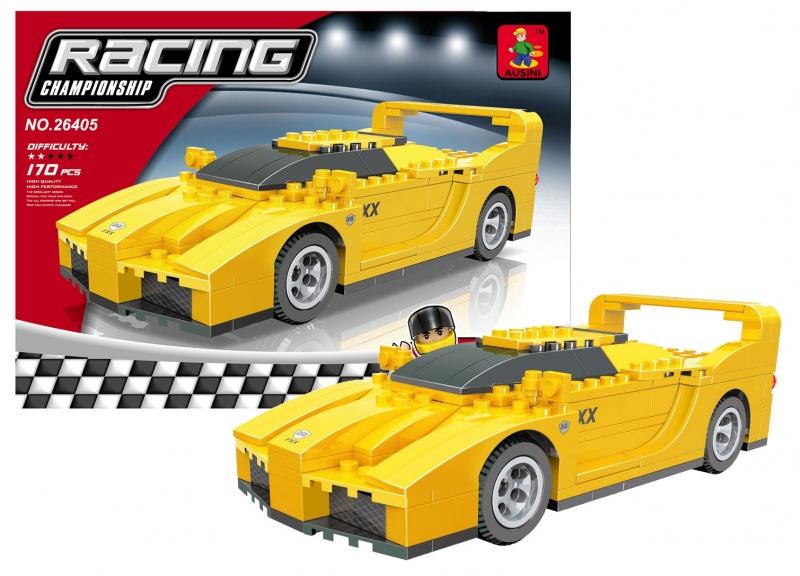 Stavebnice AUSINI závodní auto žluté 170 dílů