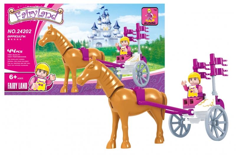 Stavebnice AUSINI pohádková - kočár s koněm 44 dílů