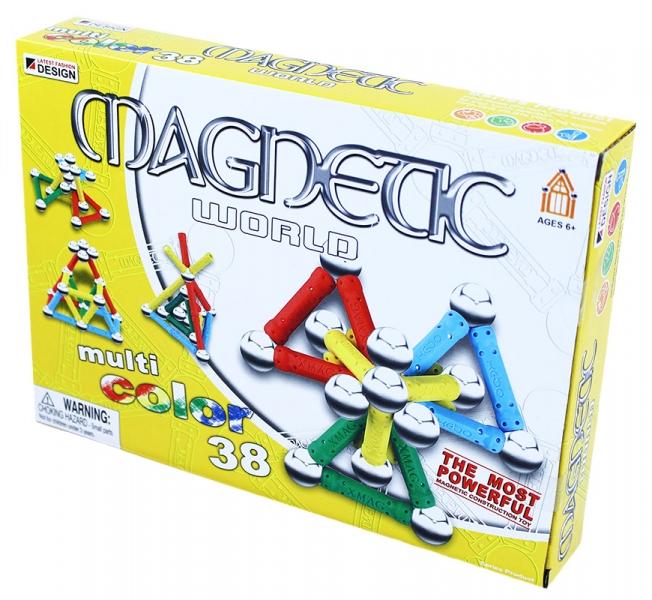 Stavebnice magnetická 3D, 38 dílů