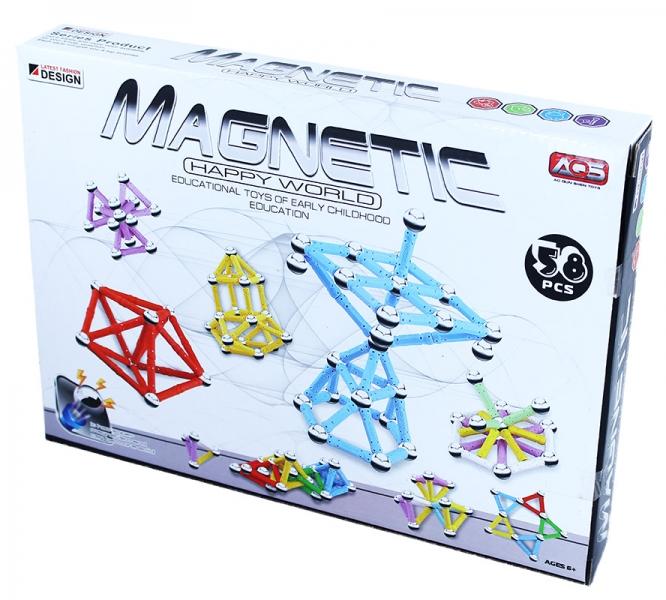 Stavebnice magnetická 3D, 58 dílů