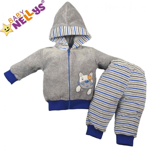 Hřejivá soupravička Babys Nelly ® - Kočička proužek modrý