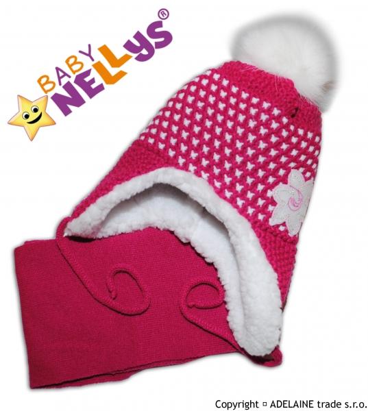 BABY NELLYS Zimní čepička s kožíškem a šálou Lili - sytě růžová,fuksijová